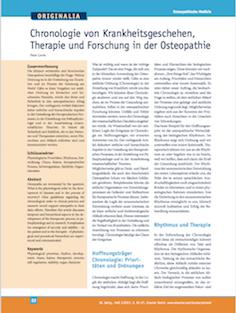 Chronologie von Krankheitsgeschehen, Therapie und Forschung in der Osteopathie